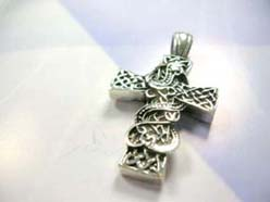 Celtic cross with snake on top,Handcrafted in 925. sterling silver pendant