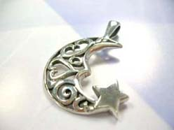Filigree heart moon and star, 925. sterling silver mounting pendant