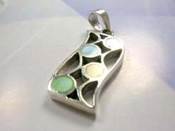 Curvy line accented with rainbow seashell, precious 925. sterling silver pendant