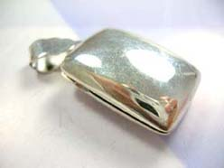 Handcrafted in 925. sterling silver plain rectangular locket pendant