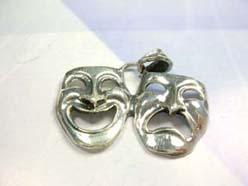 Plain silver mask, dazzling 925. sterling silver pendant