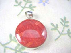 Quality 925. sterling silver red coral stone pendant