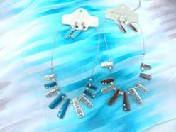 Hip hop enamel chips necklace and earring fashion jewelry set