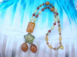 Rectangular and star beaded imitation amber necklace