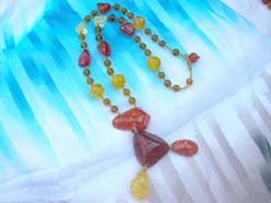 Triangle and water-drop mix beaded amber necklace