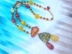 Matching shape beaded faux amber necklace