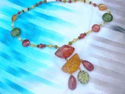 Vintage native style amber faux necklace