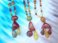 Assorted imitation amber design with beaded necklace
