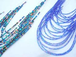 Seed beaded multi string fashion blue tone jewelry set