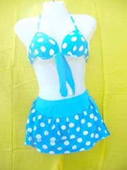 Fashion 2 piece bikini set with mini skirt swim suit