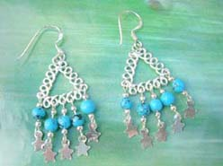 925 sterling silver earring motif triangle fringe with turquoise bead