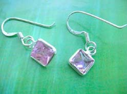Pinky quartz cz, Stamped 925 sterling silver earring