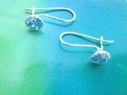 Blue round cz, Stamped 925 sterling silver earring
