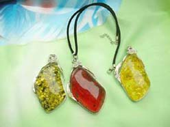 Diamond faux amber pendant