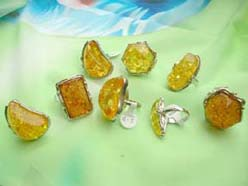 Imitation yellow amber rings