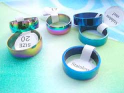 wholesale 316L stainless steel rings in rainbow and blue colors