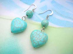 wholesale genuine turquoise earring in heart design