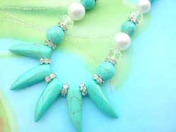 necklace bracelet earring jewelry set with imitation pearl and genuine shark teeth design turquoise beads, cz spacer bead