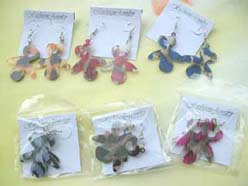 resin painted little child dangle charm earring animal print