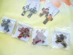 religious jewelry cross earring animal print design