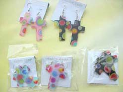 color circle cross earring