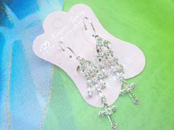crystal-cdangle cross cz earring