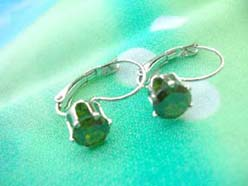 hook earring with green cz