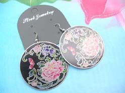 costume jewelry earring rose painting in black