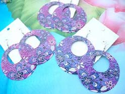 blue purple pinkish color painting earrings in floral designs