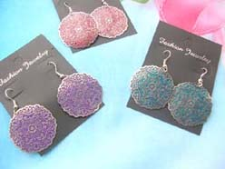 Boho retro jewelry Bohemian style earrings circle shape uneven edge