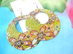 green orange color painting fashion earring floral garden theme