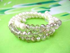 imitation pearl and light grey rhinestone beaded wrap-around bracelet