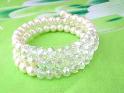 imitation pearl and light grey clear rhinestone beaded wrap-around bracelet