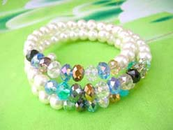 imitation pearl and colorful rhinestone beaded wrap-around bracelet