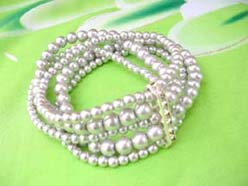 5 rows Faux Pearl Stretch bracelet, light grey, cz long spacer