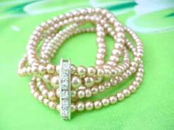 wholesale bridal jewelry bracelet, 5 rows faux pearl stretch bracelet, light gold, cz long spacer
