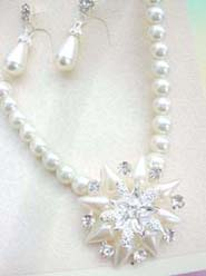 wholesale prom bridal jewelry imitation pearl and cz flower necklace and earring set-pointed flower cz design
