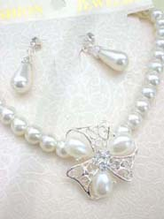 wedding accessories bridal jewelry, imitation pearl and cz flower necklace and earring jewelry set