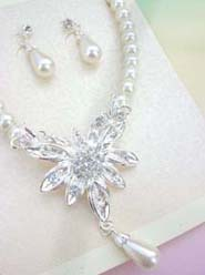 wedding accessories jewelry set angel wing flower design