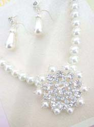 Wedding Bouquet Jewels Faux Pearl Cubic Zirconia Necklace Earring Set