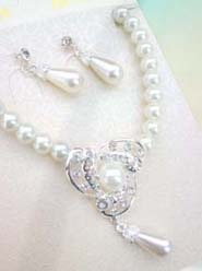 Wedding Accessory Faux Pearl Rhinestone Beaded Pendant Necklace Earring Jewelry Set