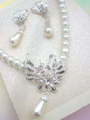 Wedding Bridal Jewelry Set Beaded Faux Pearl Pendant