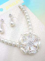 cz crystal faux pearl jewelry set