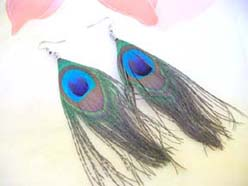 peacock feather hook earring