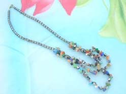 triple strands multi-color gemstone chip and hematite beaded necklace