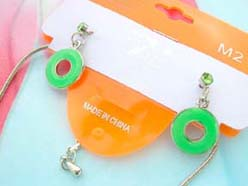 enamel cubic zirconia fashion earring and necklace jewelry set in green circle design