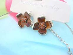 enamel cubic zirconia fashion earring and necklace jewelry set in brown flower design