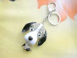 keychain funny doggy with cz crystals