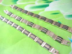 Men's Stainless Steel and Black Ruthenium Link Bracelet