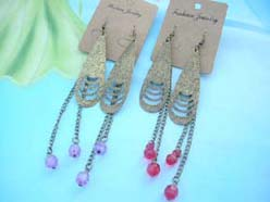 long raindrop design pierced earrings wholesale
